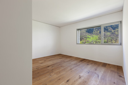 contemporary house: Interior of empty apartment, wide room with parquet floor