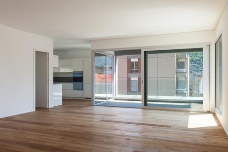 balcony door: Interior of empty apartment, room with balcony, sliding door Stock Photo