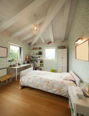 attic: Modern house bedroom interior