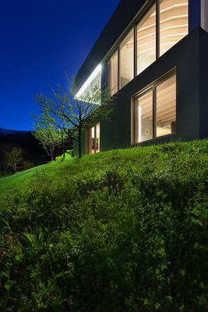 modern architecture: Architecture modern design concrete house, night scene Stock Photo