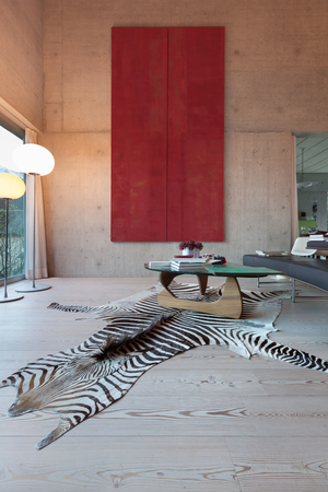 big picture: Interior of a villa, modern living room with big picture. concrete walls
