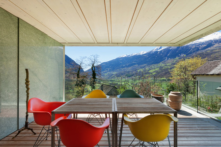 balcony window: Architecture modern design, veranda of modern house