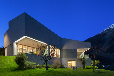 Architecture modern design, concrete house, night scene Archivio Fotografico