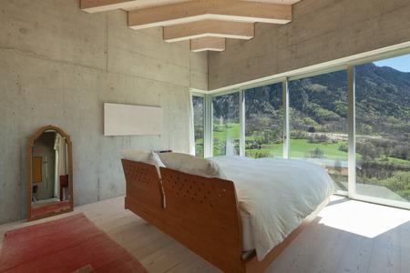 manzara: çimento modern dağ İçişleri, yatak odası