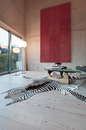 Interior, modern living room with big picture. concrete walls