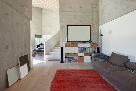 furnished: Interior of a villa, modern living room with red carpet. concrete walls