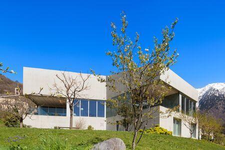 home and garden: Architecture modern design, concrete house and garden, outdoors Stock Photo