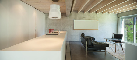 kitchen counter top: Interior of a modern chalet in cement, counter top of kitchen