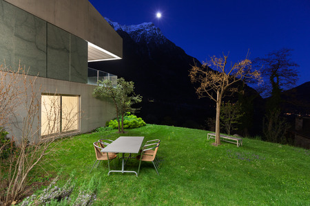 balcony design: Architecture modern design, concrete house, night scene Stock Photo