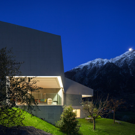 contemporary house: Architecture modern design, concrete house, lit terrace at night