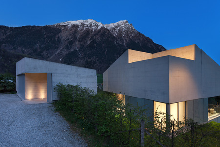 Architecture modern design, concrete house, night scene Reklamní fotografie