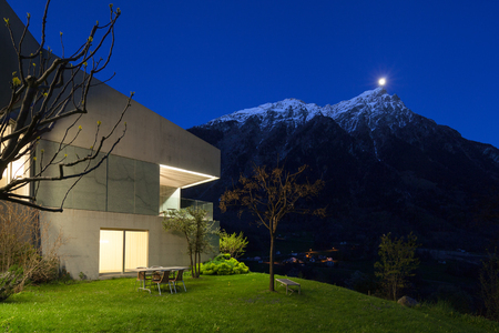 Architecture modern design, concrete house, night scene Banco de Imagens