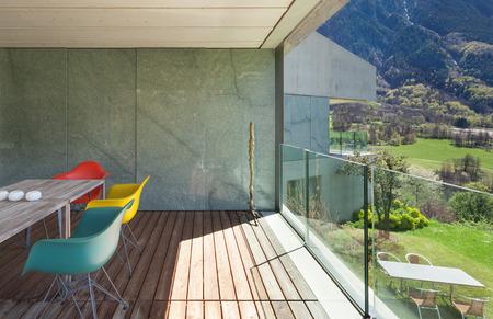 balcony window: Architecture modern design, veranda of mountain house