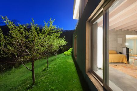 view to outside: Architecture modern design, exterior of house by night