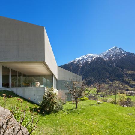 balcony window: Architecture modern design, concrete house with garden