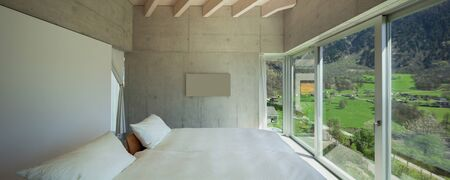 chalet: Interior of a modern chalet in cement, bedroom