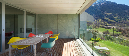 balcony: Architecture modern design, veranda of mountain house