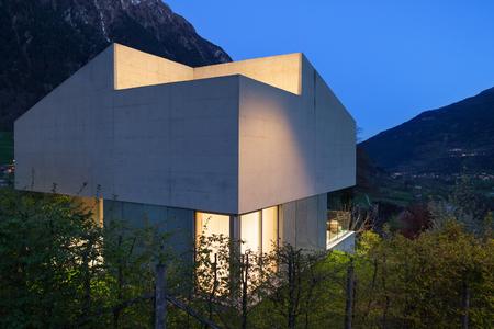 modern architecture: Architecture modern design, concrete house, night scene Stock Photo