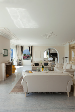 living room in luxury house, comfortable lounge Stock Photo