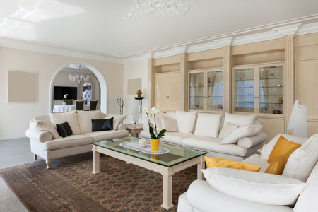 living room in luxury home, comfortable white divans in classic style Stock Photo
