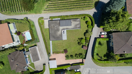 aerial: aerial view of a residential area with housing