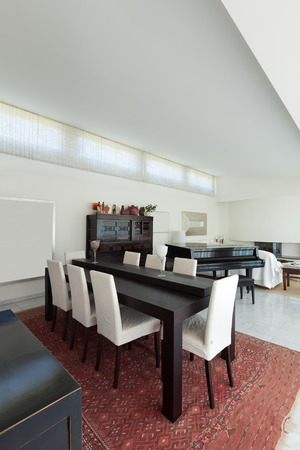 modern dining room: Dining room of a modern house, interior Stock Photo