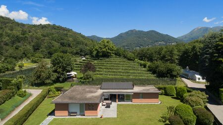 modern home: aerial view of a modern brick house with garden
