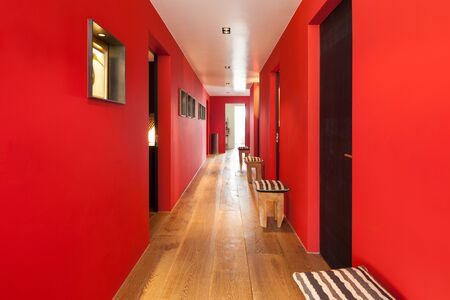 interior walls: Interior, corridor of a modern house, wooden floor and red walls
