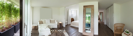 inside house: living room and bedroom, leather zebra on the floor, white walls Stock Photo
