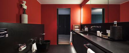 bathroom design: comfortable bathroom in modern design, red walls