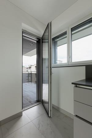 balcony window: apartment, door of the balcony window open, interior Stock Photo