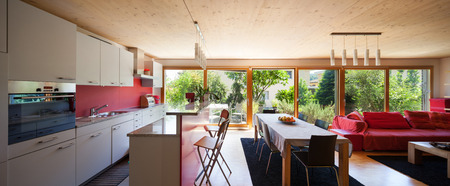 open space of a modern house, dining table and kitchen
