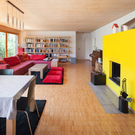 divan: Living room of an eco house, red divan and fireplace