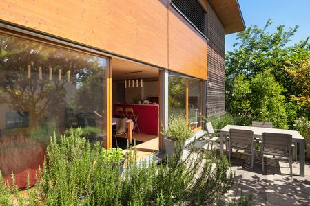 veranda: Veranda of a wooden house,  modern design Stock Photo