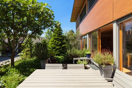 outside house: Veranda of a wooden house,  modern design Stock Photo