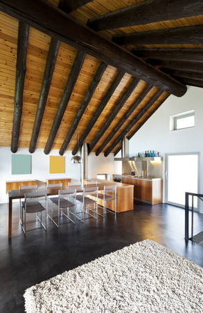 roof beam: beautiful mountain home with modern furniture