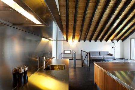 beautiful mountain home with modern furniture, kitchen Stock Photo