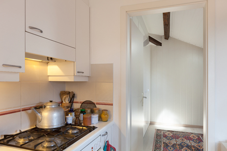 gas cooker: Interior, gas cooker of a kitchen
