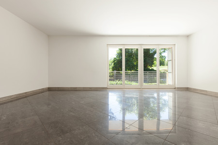 apartment living: living with window of empty apartment, interior Stock Photo