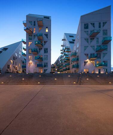 residential neighborhood: residential neighborhood at Aarhus in Denmark, night scene