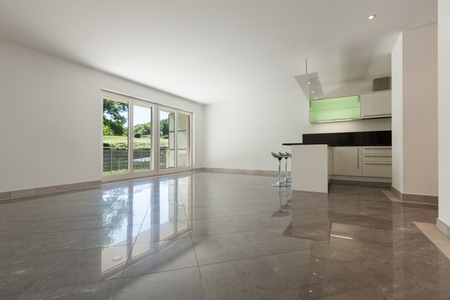 Interior of empty apartment, wide living with kitchen, marble floor