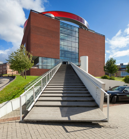 AARHUS, DENMARK - AUGUST 9, 2016: View from external of Art museum in Aarhus, The museum was established in 1859 and the addition of the circular skywalk  panorama was completed in 2011