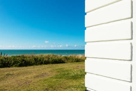 hirtshals: detail of wall of house with sea view