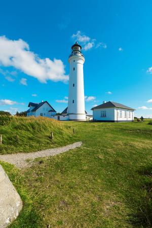 hirtshals: lighthouse in nature, landscape of Denmark