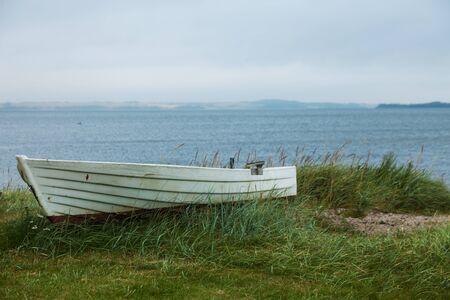aground: Boat aground on the grassy beach