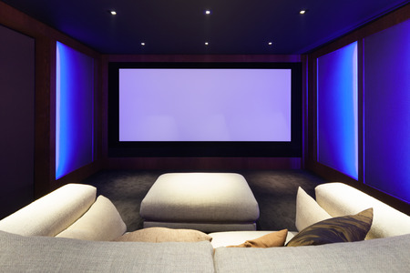 home theater: Home theater, luxury interior, comfortable divan and big screen