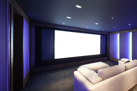 divan: Home theater, luxury interior, comfortable divan and big screen
