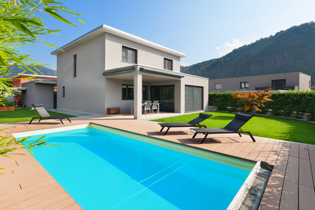 outside house: swimming pool of a modern house, outdoors
