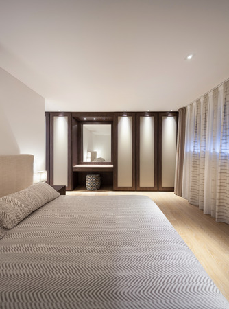 the double: bedroom of luxury house, comfortable double bed Stock Photo