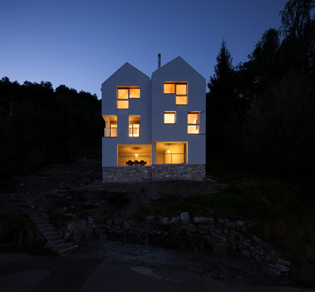 Architecture Modern Design Beautiful House Night Scene Stock Photo